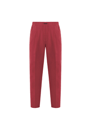 Red Pleated Linen Drawstring Trousers