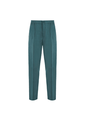 Green Pleated Linen Drawstring Trousers