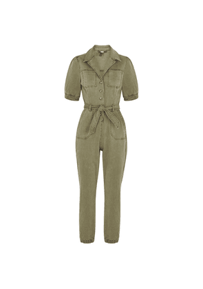 Paige Mayslie Army Green Stretch-denim Jumpsuit