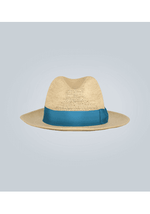 Straw Panama hat with contrast band