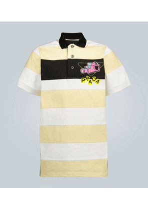 Camera printed striped polo shirt