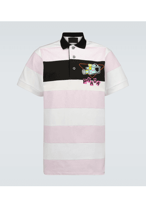 Camera print striped polo shirt
