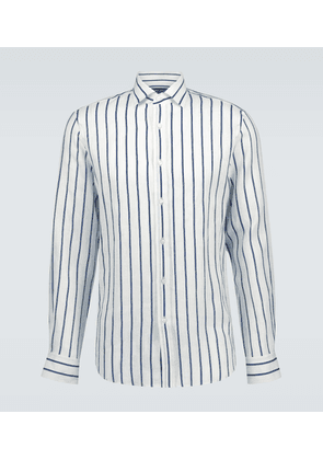 Striped linen long-sleeved shirt