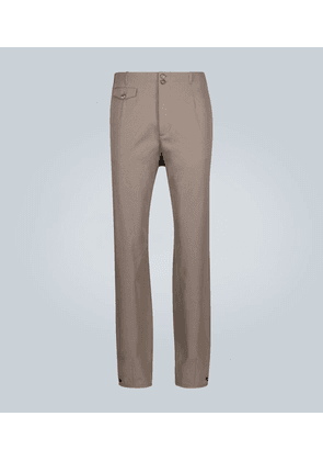 Buttoned wool-blend pants
