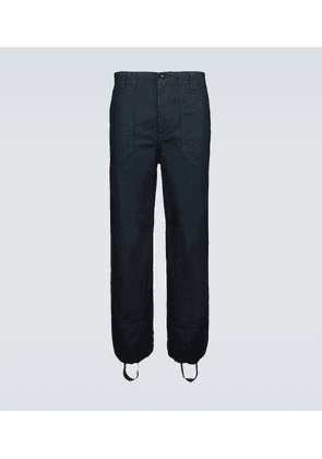 Twill cargo pants with ankle hoops