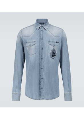 Straight-fit denim shirt with logo