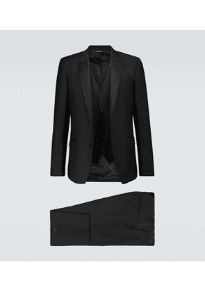 Three-piece wool and silk tuxedo