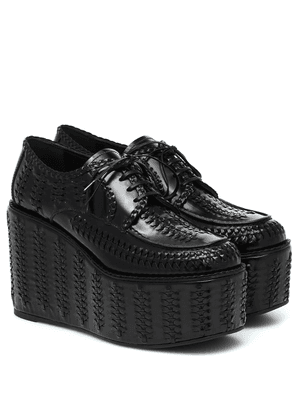 Woven leather platform brogues