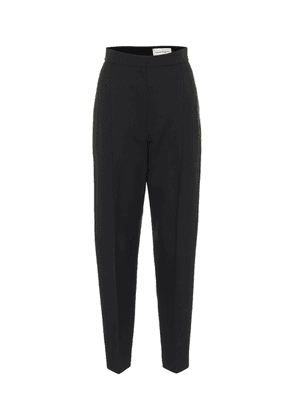 High-rise wool-blend tapered pants