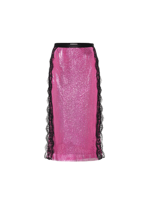 Lace-trimmed chainmail midi skirt