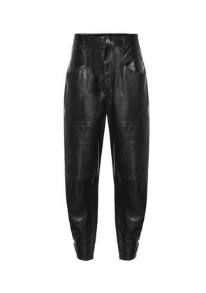 Xiamao high-rise leather pants