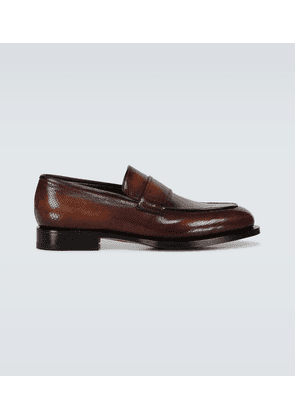 Textured leather loafers
