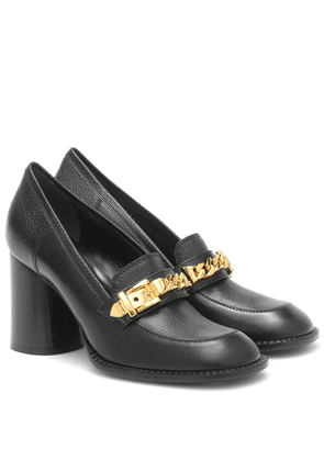 Sylvie chain-trimmed leather pumps