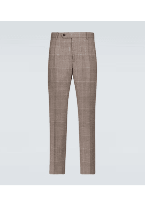 Checked houndstooth wool pants
