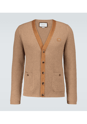 Suede-trimmed knitted cardigan