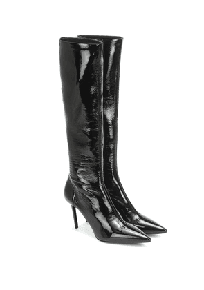 Patent knee-high boots