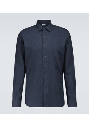 Slim-fit long-sleeved cotton shirt