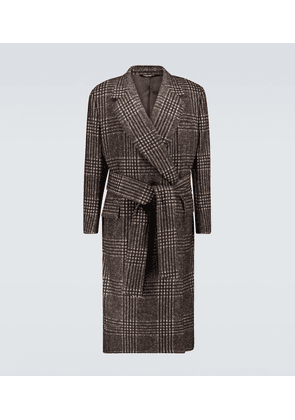 Belted checked overcoat