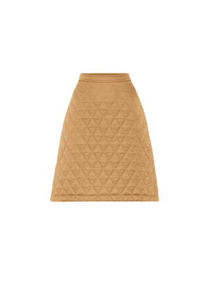 Quilted high-rise twill skirt