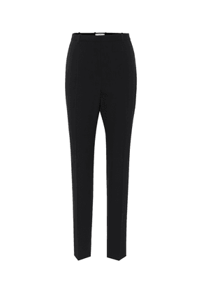 High-rise slim wool pants