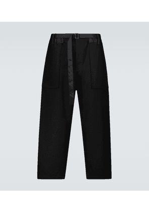 Cotton twill belted pants