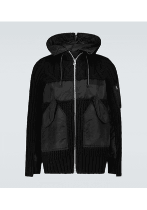 Knitted blouson jacket with hood