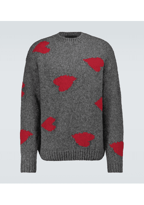 Heart intarsia knitted sweater