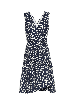Polka-dot stretch-cotton minidress