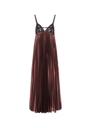 Lace and satin jersey slip dress