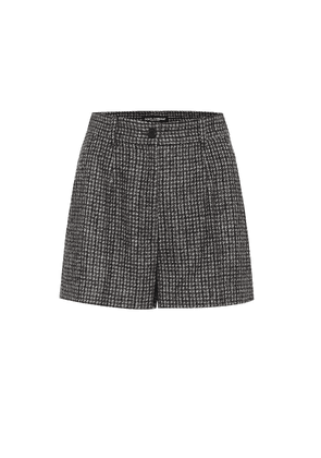 Checked high-rise wool-blend shorts