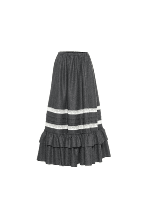 High-rise wool maxi skirt