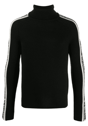 We11done side stripe roll neck jumper - Black