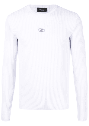 We11done ribbed-knit crew neck jumper - White