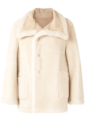 We11done Welldone shearling single-breasted coat - Neutrals