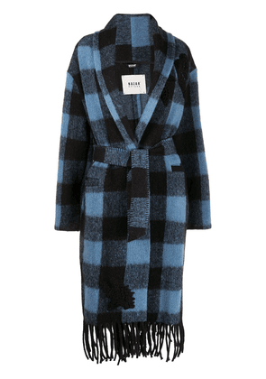 Bazar Deluxe checked trench coat - Blue