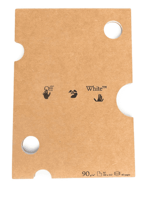 Off-White logo print A5 notebook - Brown