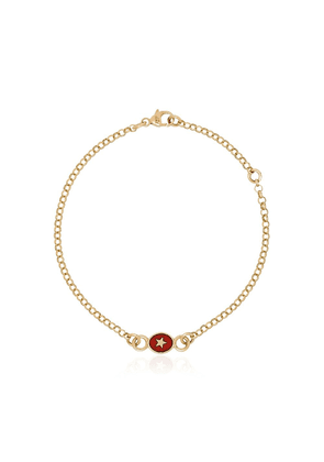Foundrae 18kt yellow gold Strength red star bracelet