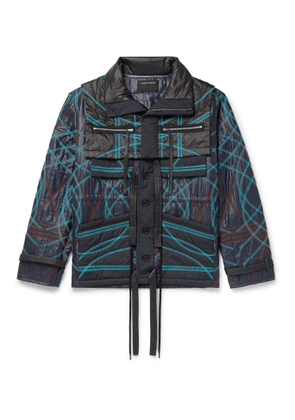 Craig Green - Embroidered Quilted Nylon Jacket with Removable Collar - Men - Blue