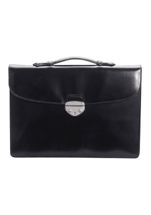 Black Saddle Hide Leather Hanover 1 Briefcase