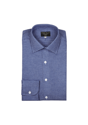 Navy And Sky Houndstooth Brushed Cotton shirt