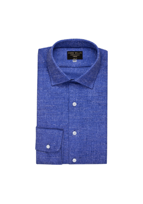 Cobalt And White Weave Brushed Cotton shirt
