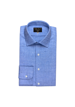 Sky And White Weave Brushed Cotton shirt