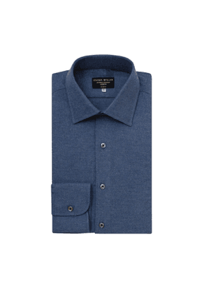 Deep Denim Blue Brushed Cotton shirt