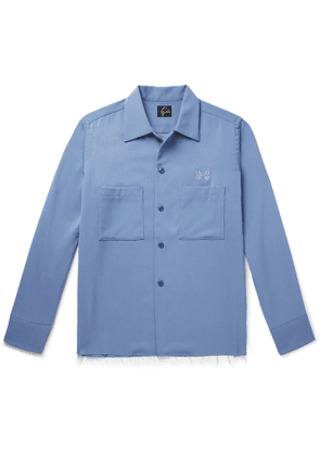 Needles - Logo-Embroidered Distressed Tech-Wool Overshirt - Men - Blue