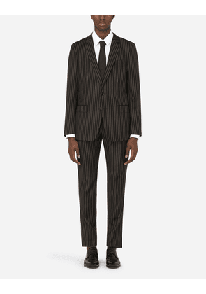 Dolce & Gabbana Suits - PINSTRIPE WOOL MARTINI-FIT SUIT BLACK male 46