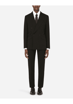 Dolce & Gabbana Suits - DOUBLE-BREASTED WOOL SICILIA-FIT SUIT BLACK male 44