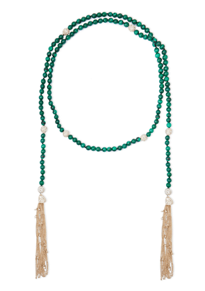 Alexis Bittar Tasseled 10-karat Gold-plated, Crystal And Beaded Stone Necklace Woman Gold Size --