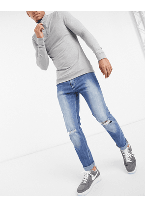 Dr Denim Clark slim fit jeans with knee rip-Blue