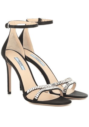 Embellished satin sandals