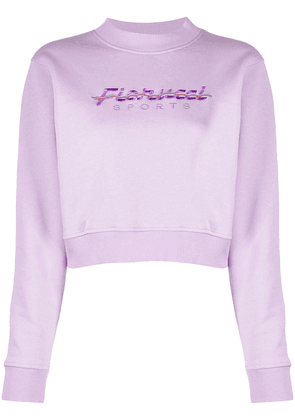 Fiorucci embroidered-logo cotton sweatshirt - PINK